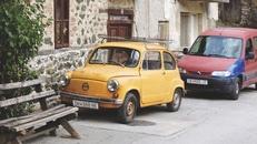 bench, cars, vintage