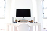 apple, desk, table
