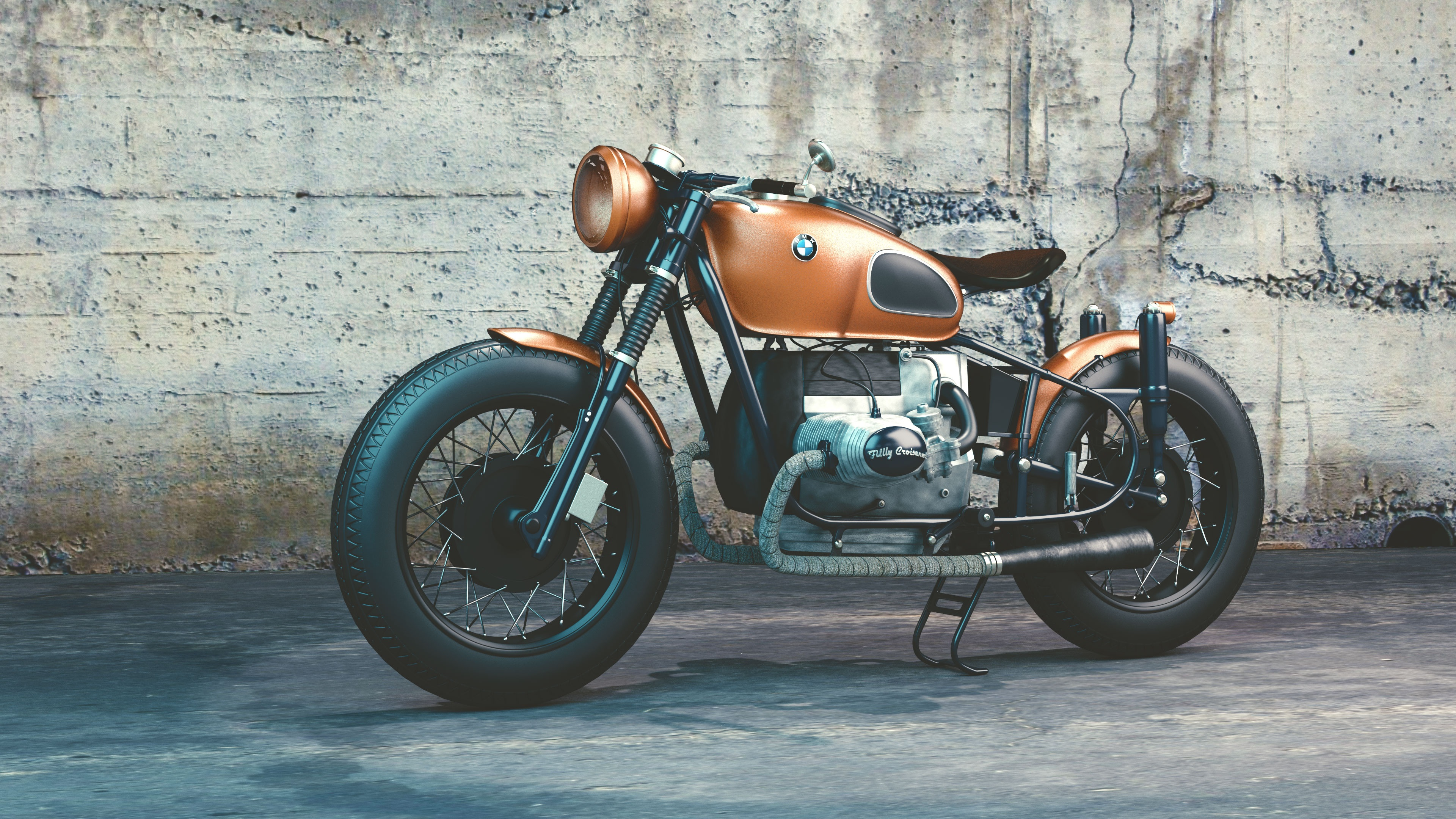 orange and black bmw motorcycle before concrete wall · free stock