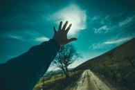 road, sky, hand