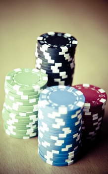 Red Black Green Blue and White Poker Chips