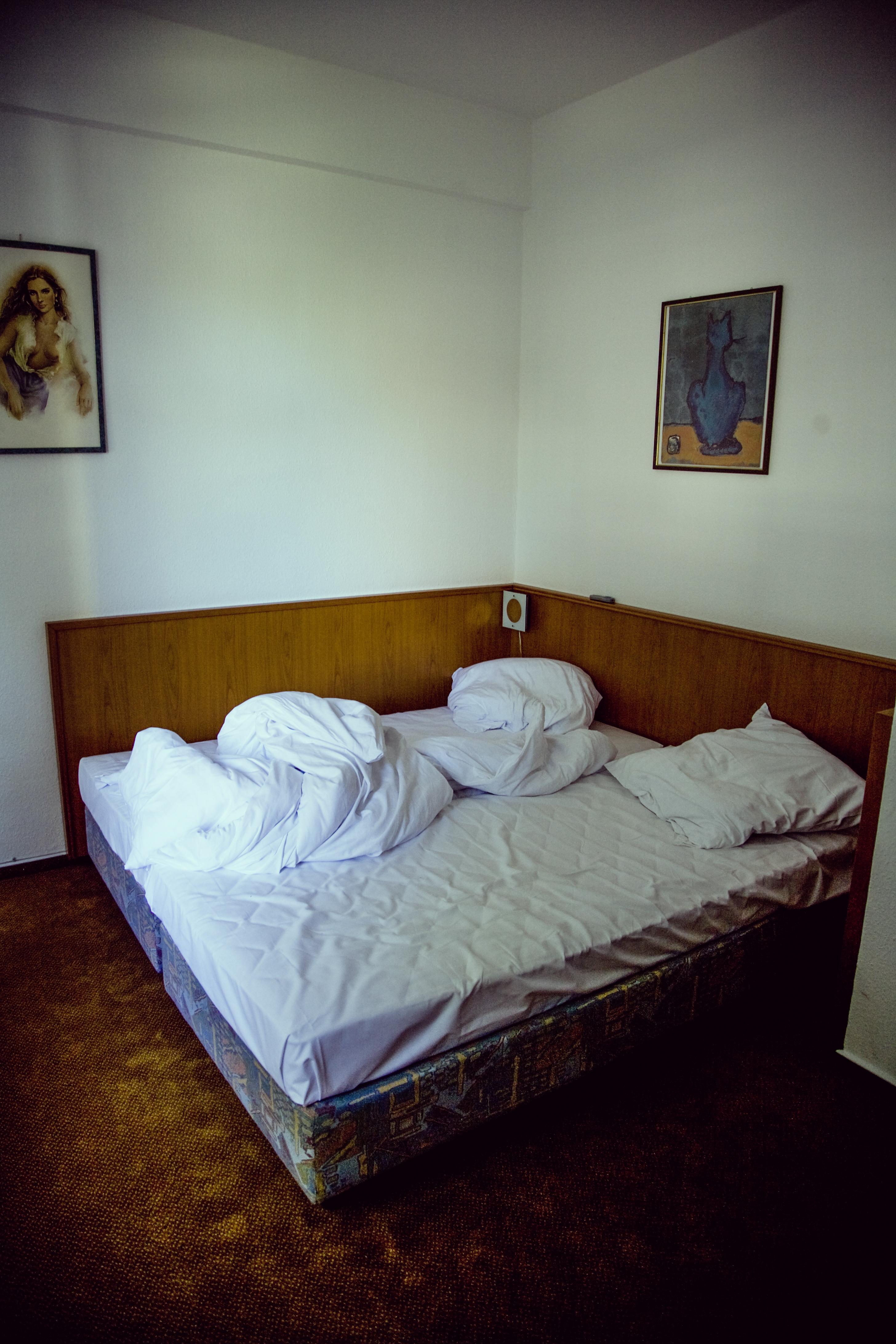 Empty Bed on Brown Floor Near Woman Painting · Free Stock
