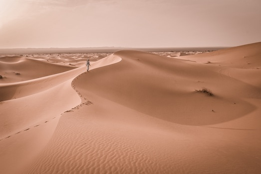 Person Walking in the Middle of Dessert during Daytimre