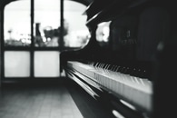 black-and-white, piano, macro