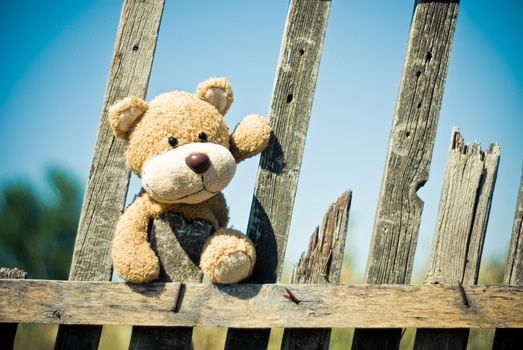 Brown Teddy Bear on Brown Wooden Fence