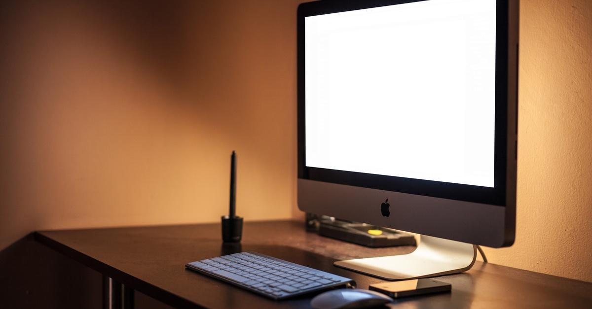 Free stock photo of apple puter desk