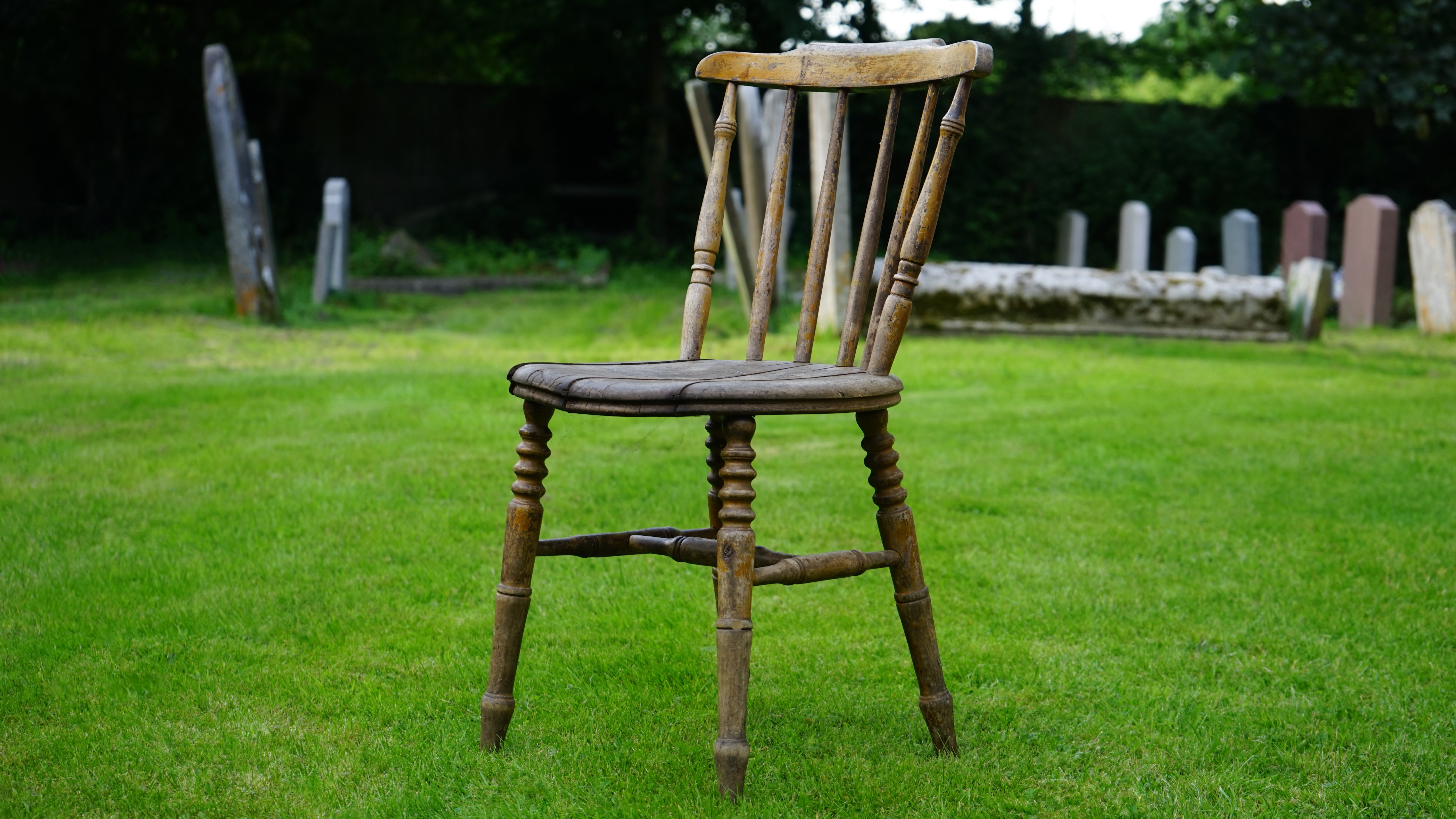 Free stock photo of cemetery chair countryside