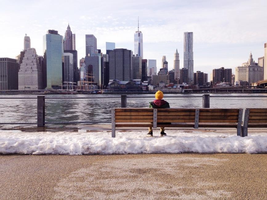 snow, bench, man