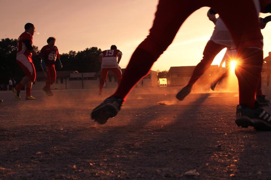 Wk voetballen, zonsondergang
