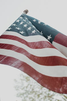 American Flag in Close Up Photography