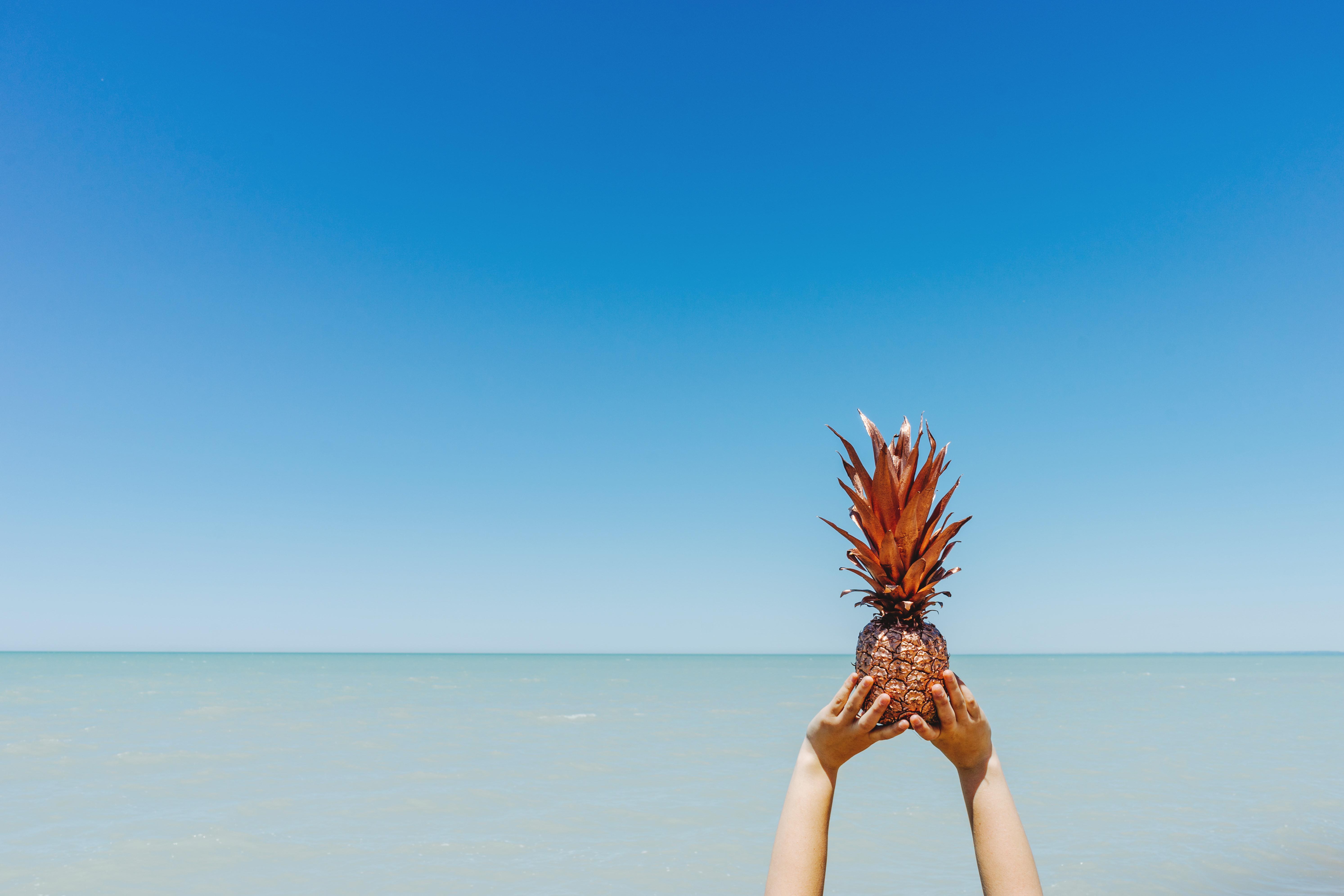 Free stock photo of beach, fruit, hands for Pineapple Wallpaper Beach  45gtk