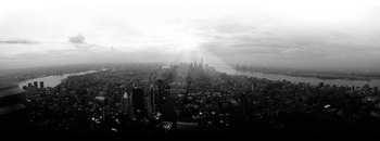 black-and-white, city, skyline