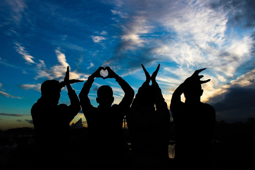 amor, gente, siluetas