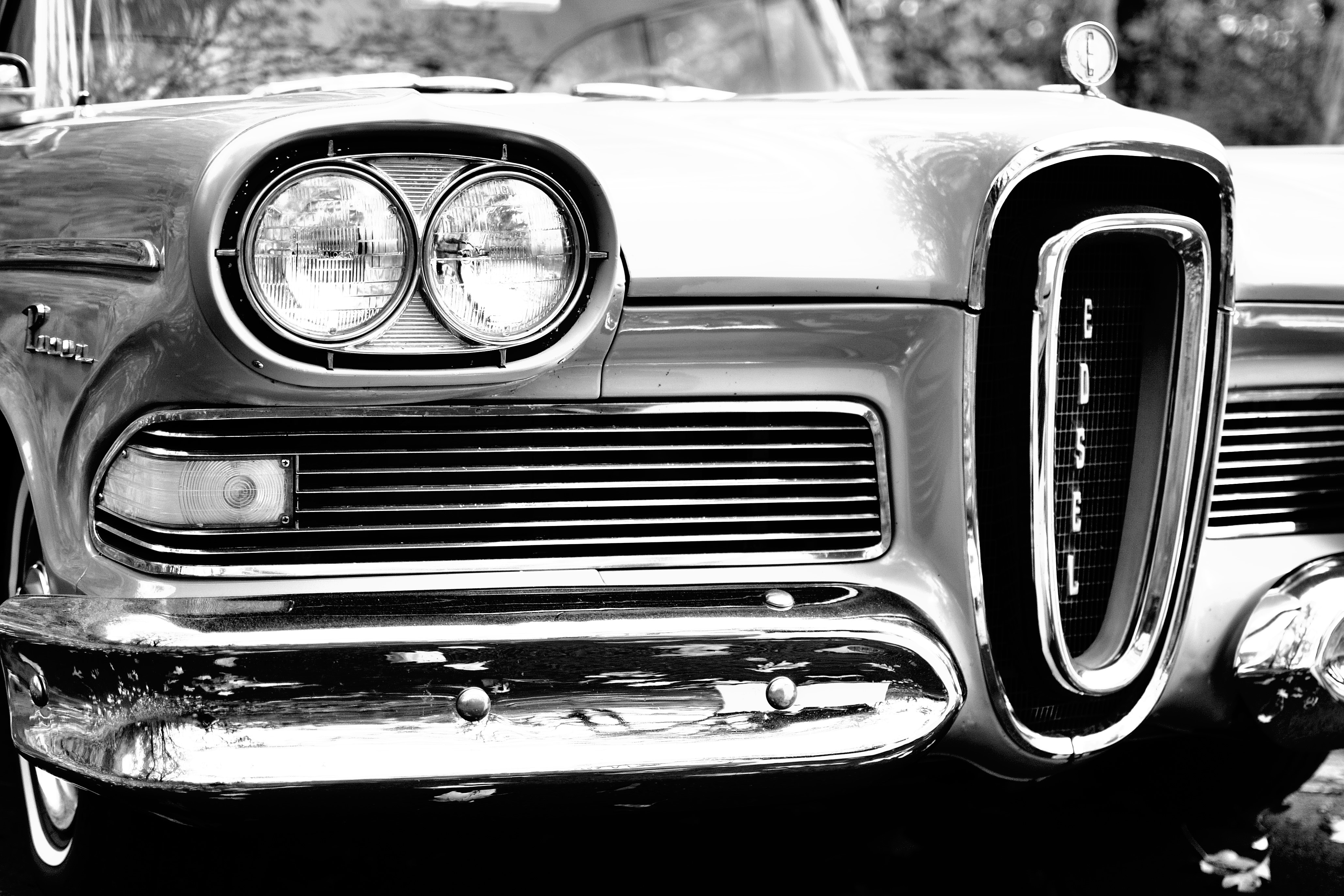 Classic Car In Grayscale Photography Free Stock Photo