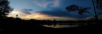 dawn, landscape, sky