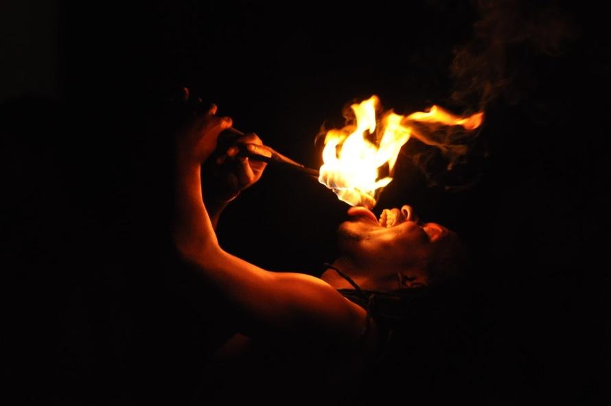 fire, street artist, fire-eater