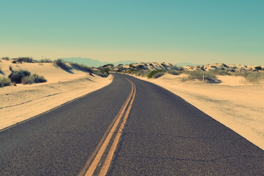 Desktop background of road, landscape, sky, sand