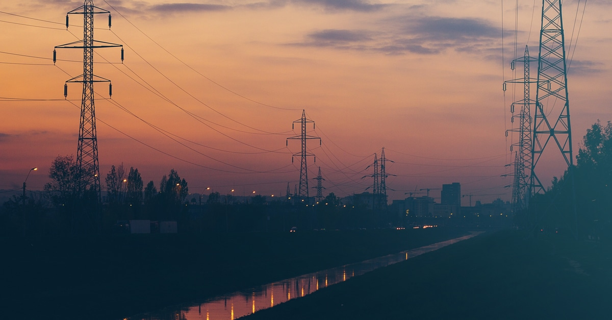 free stock photo of night pillar power lines