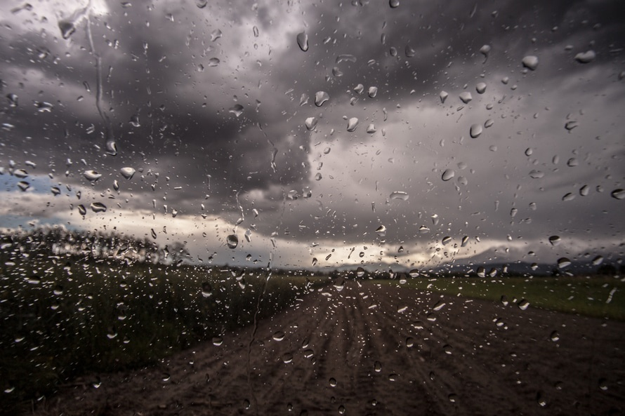 glass, rainy, car