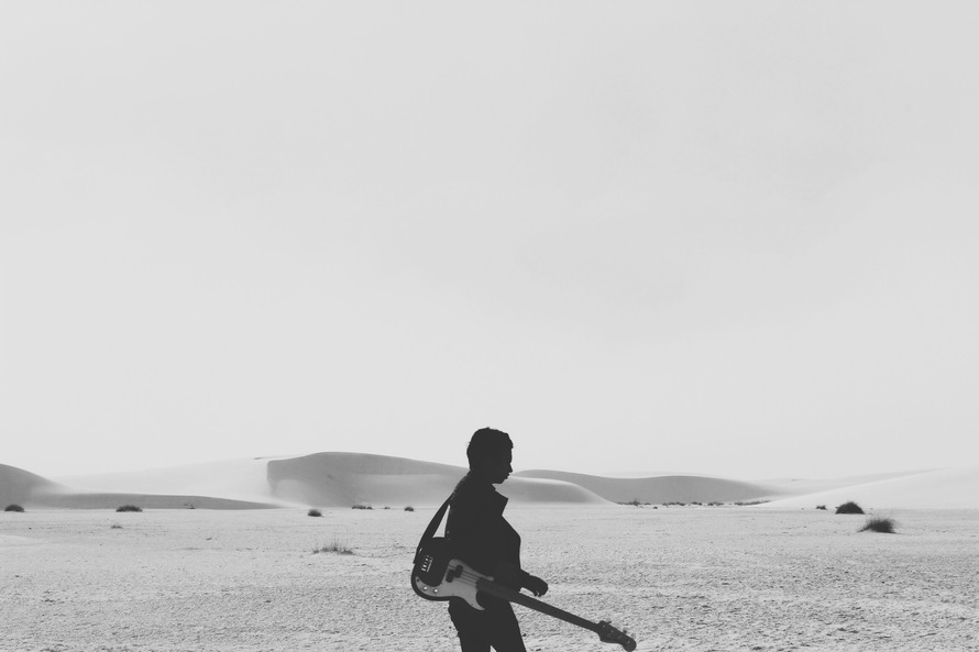 alone, black-and-white, desert