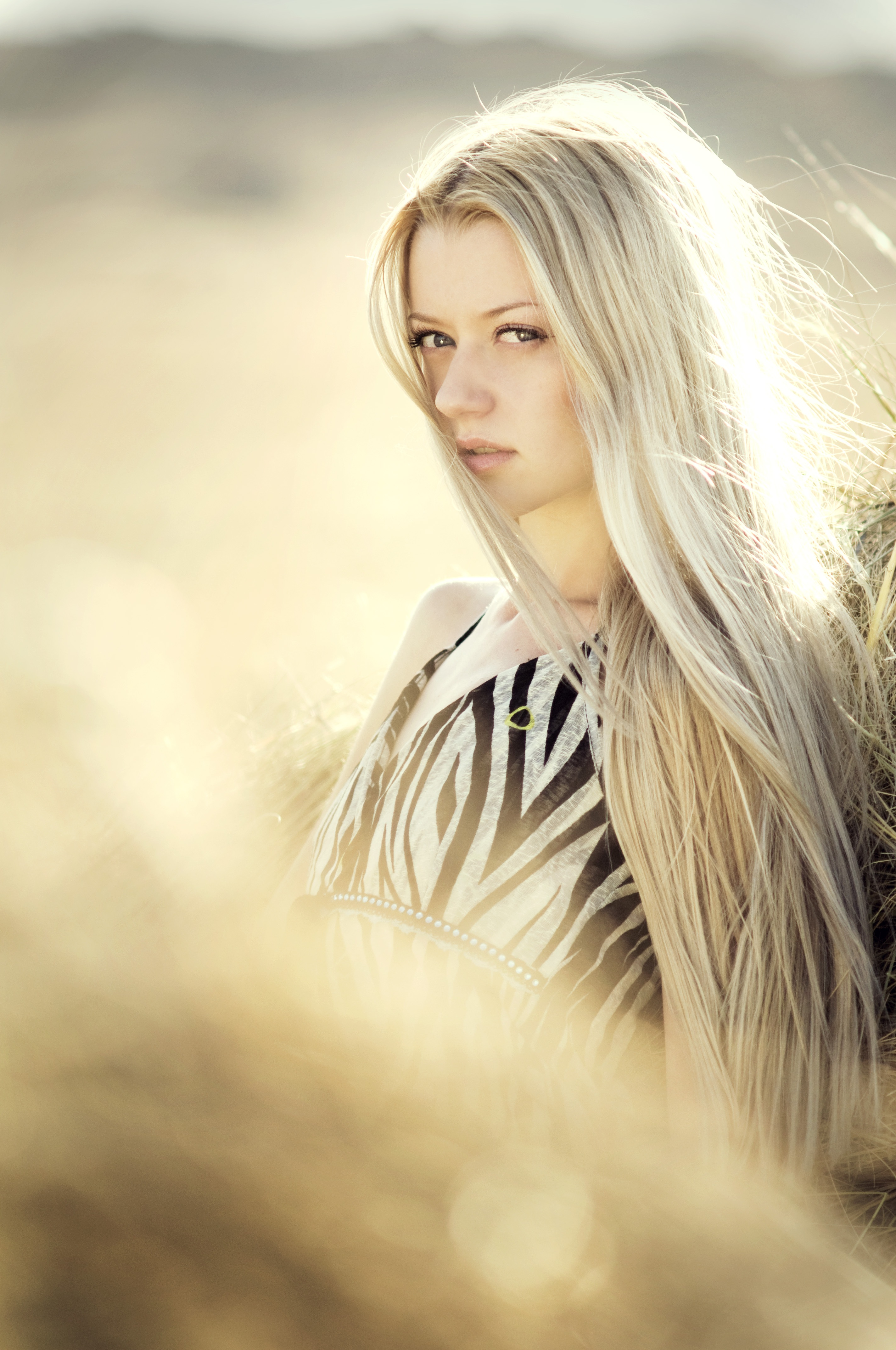 Beautiful Blondhaired 13years Old Girl Portrait Stock: Blonde Haired Woman In Open Field Photoshoot During