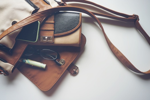Brown Leather Crossbody Bag With Eyeglasses