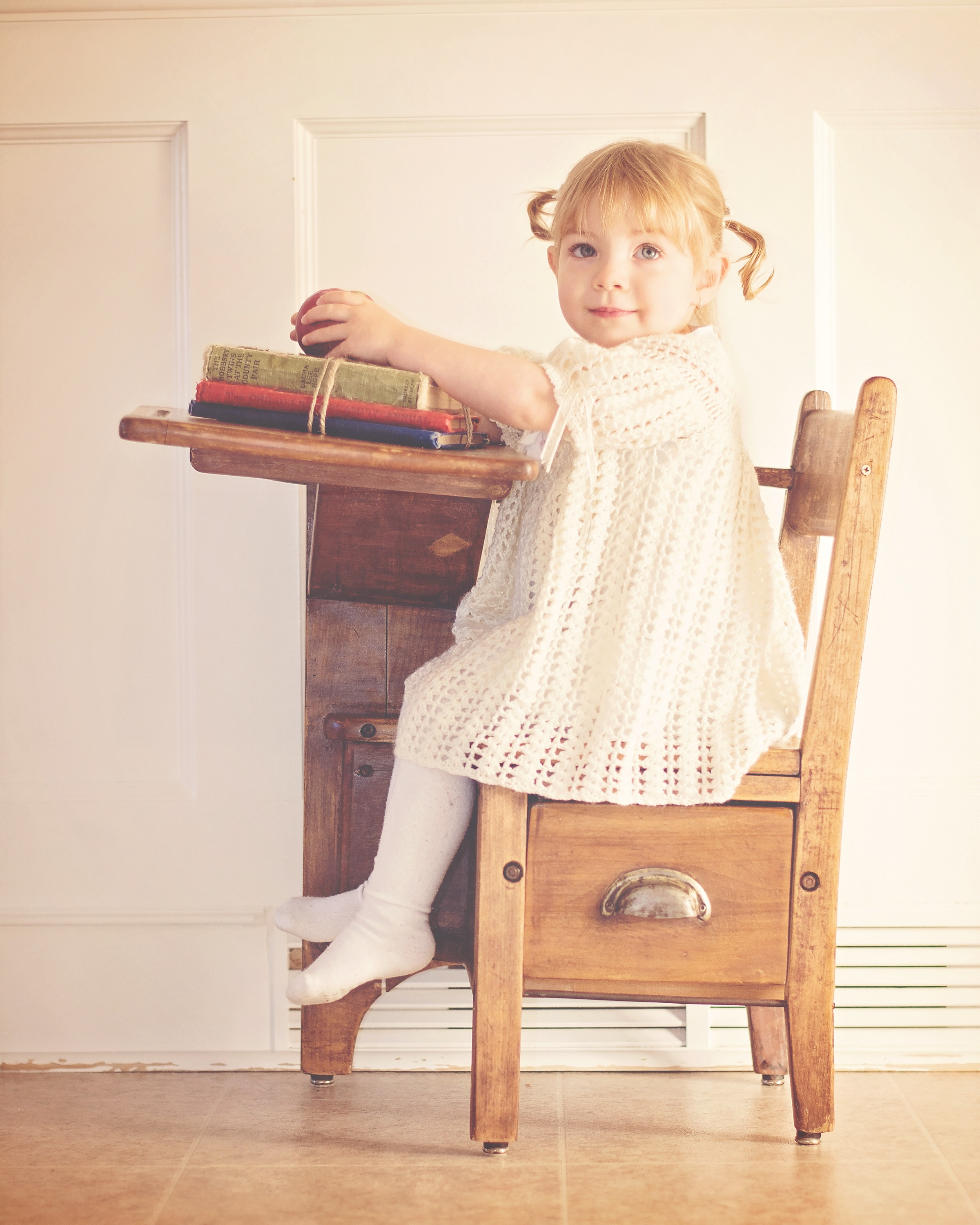 Sitting Chair: Girl In White Dress Sitting On Brown Wooden Chair · Free