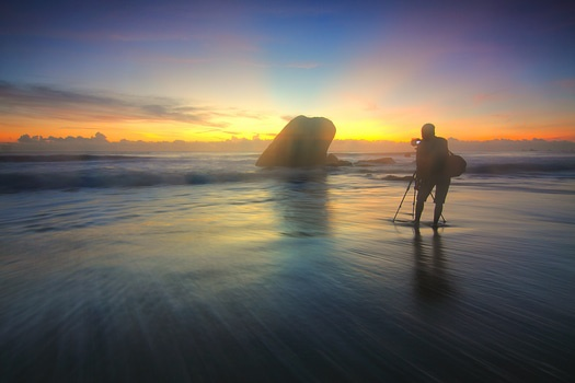 Silhouette Photography of Person on Seashore