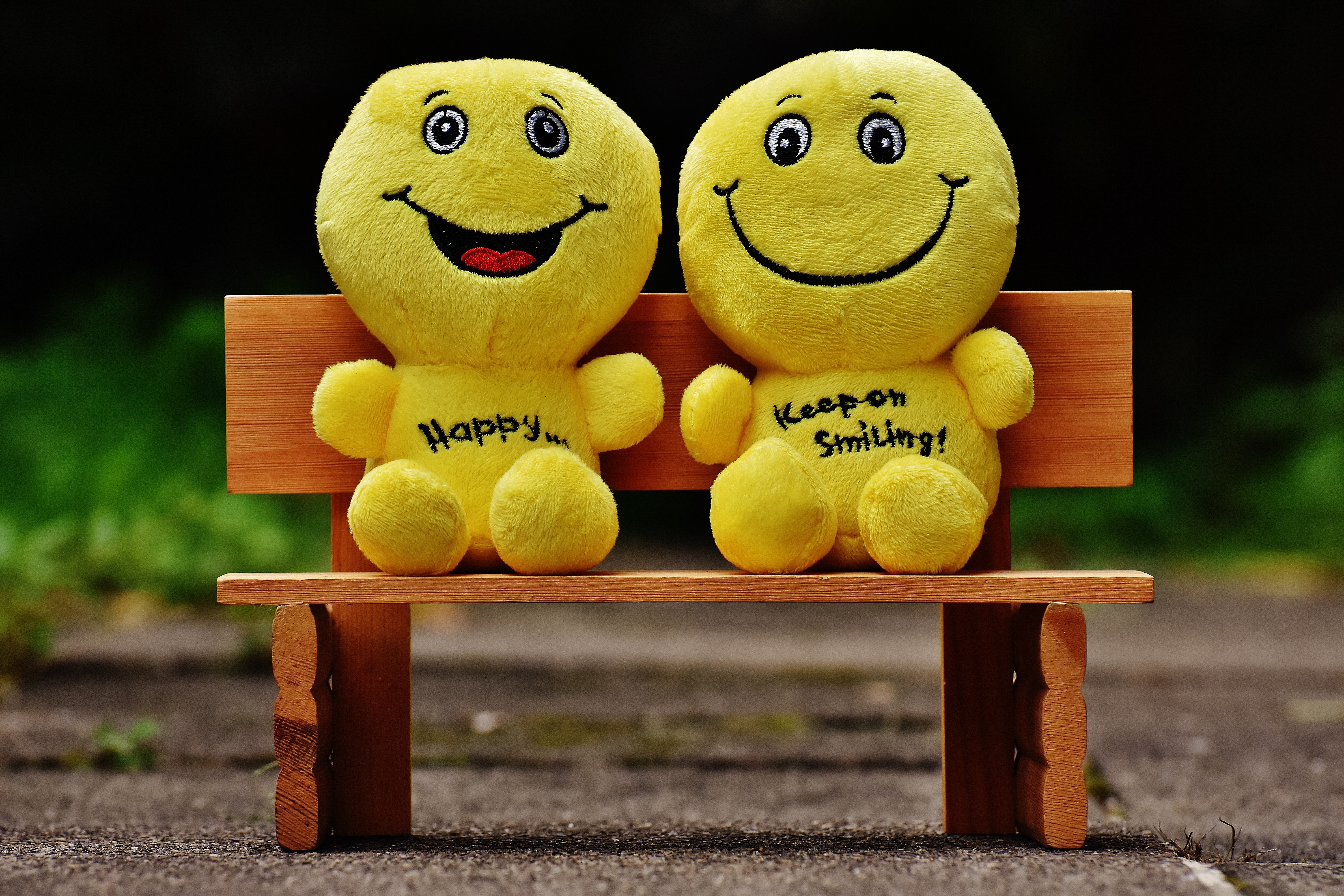 smily faces on bench