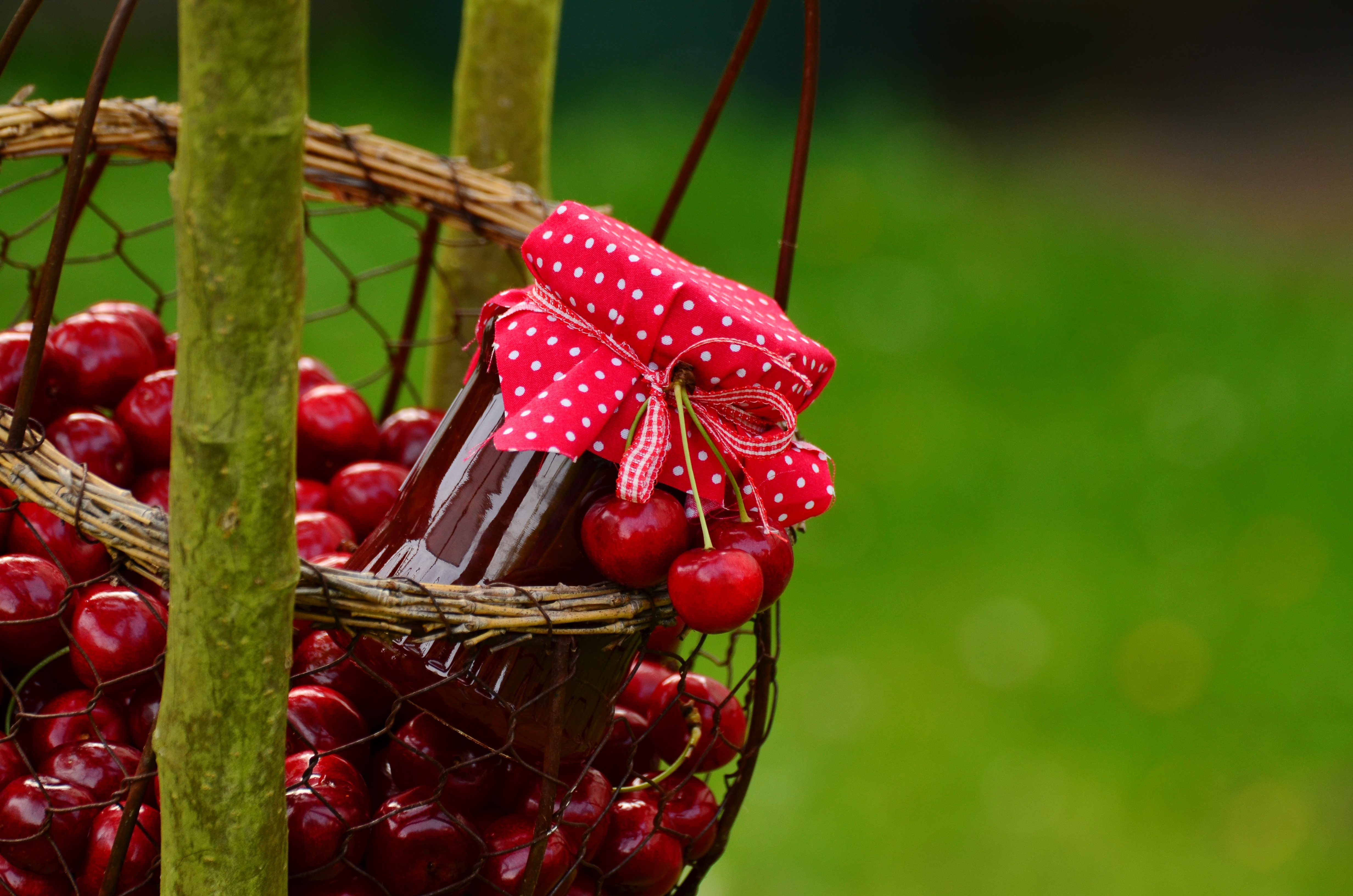 basket of fresh cherries and jar of jam