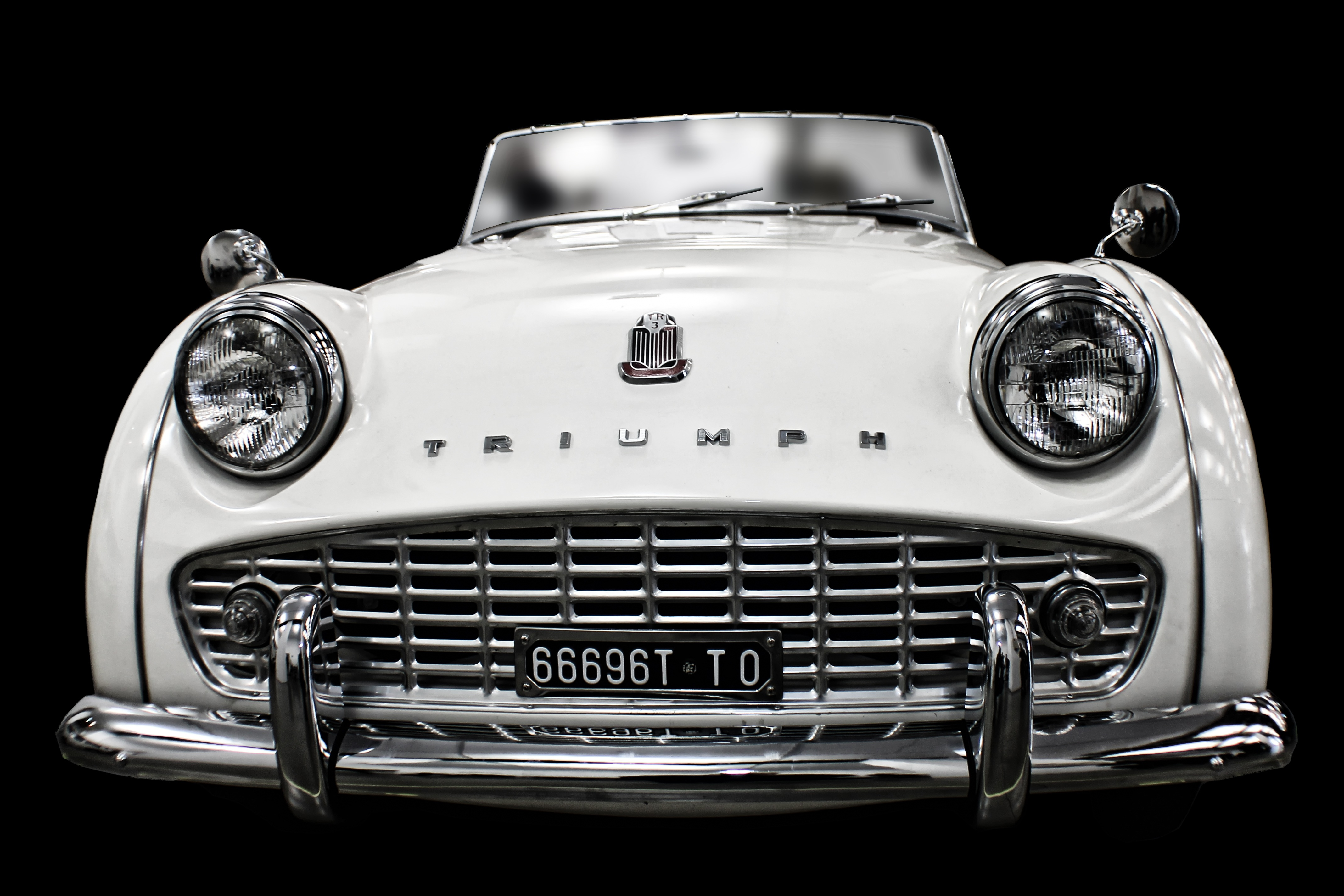 White Vintage Triump Sedan Free Stock Photo