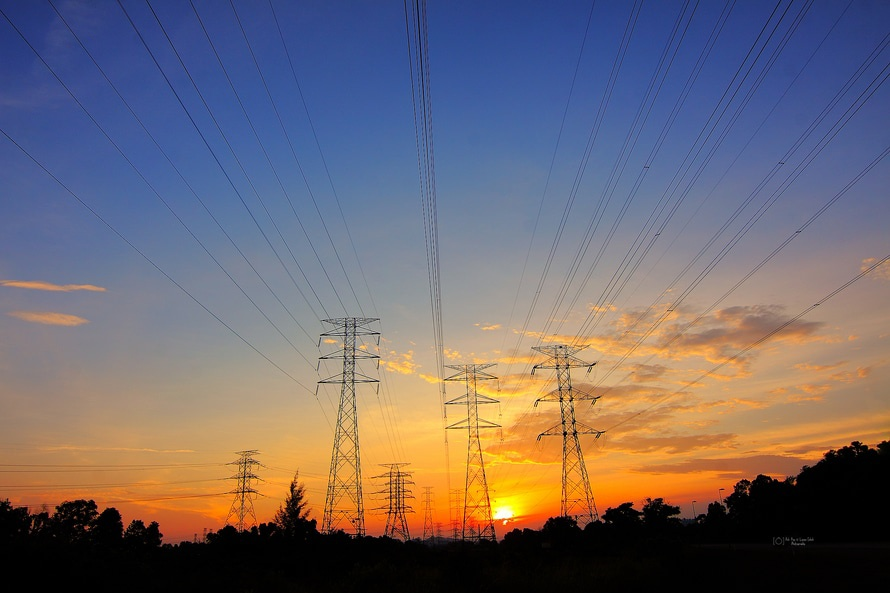 dawn, dusk, power lines