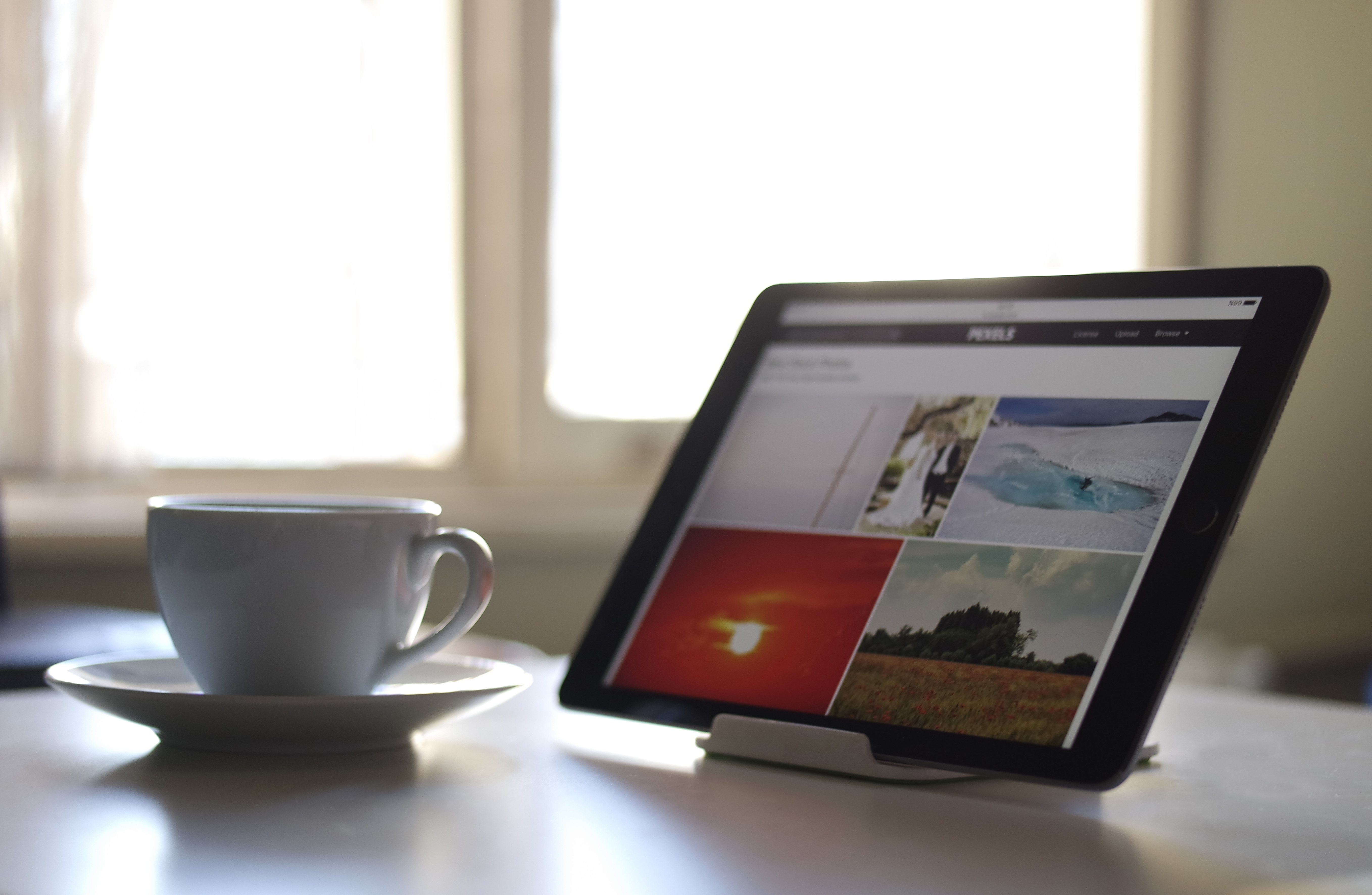 Ipad Size Chart: Black Tablet Computer Near a White Ceramic Teacup · Free Stock Photo,Chart