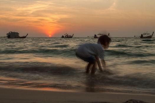 Free stock photo of sunset, beach, waves, boat