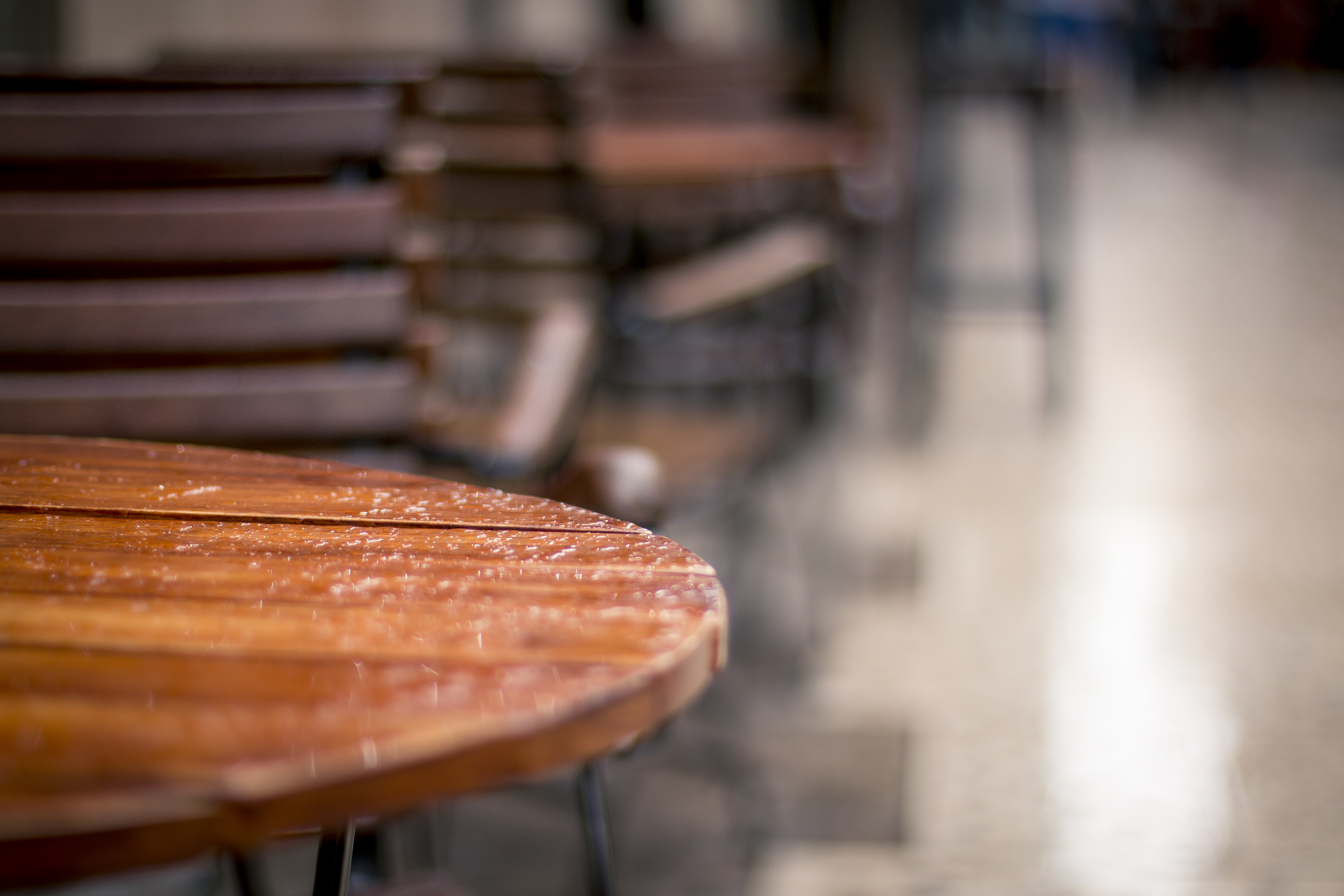 Wooden kitchen chair free stock photo public domain pictures - Free Stock Photo Of Restaurant Table Rain Wet