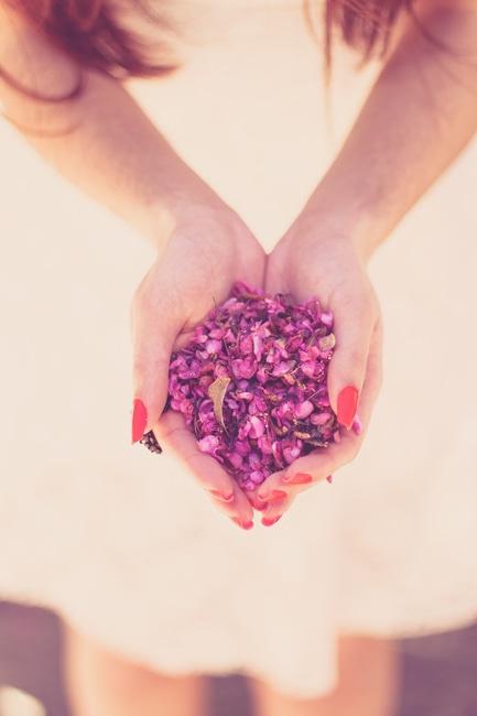 manos, mujer, flores