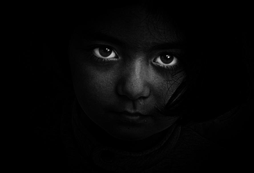 black-and-white, person, dark