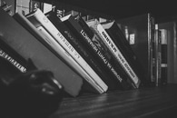 Black and White Book Pile of Books