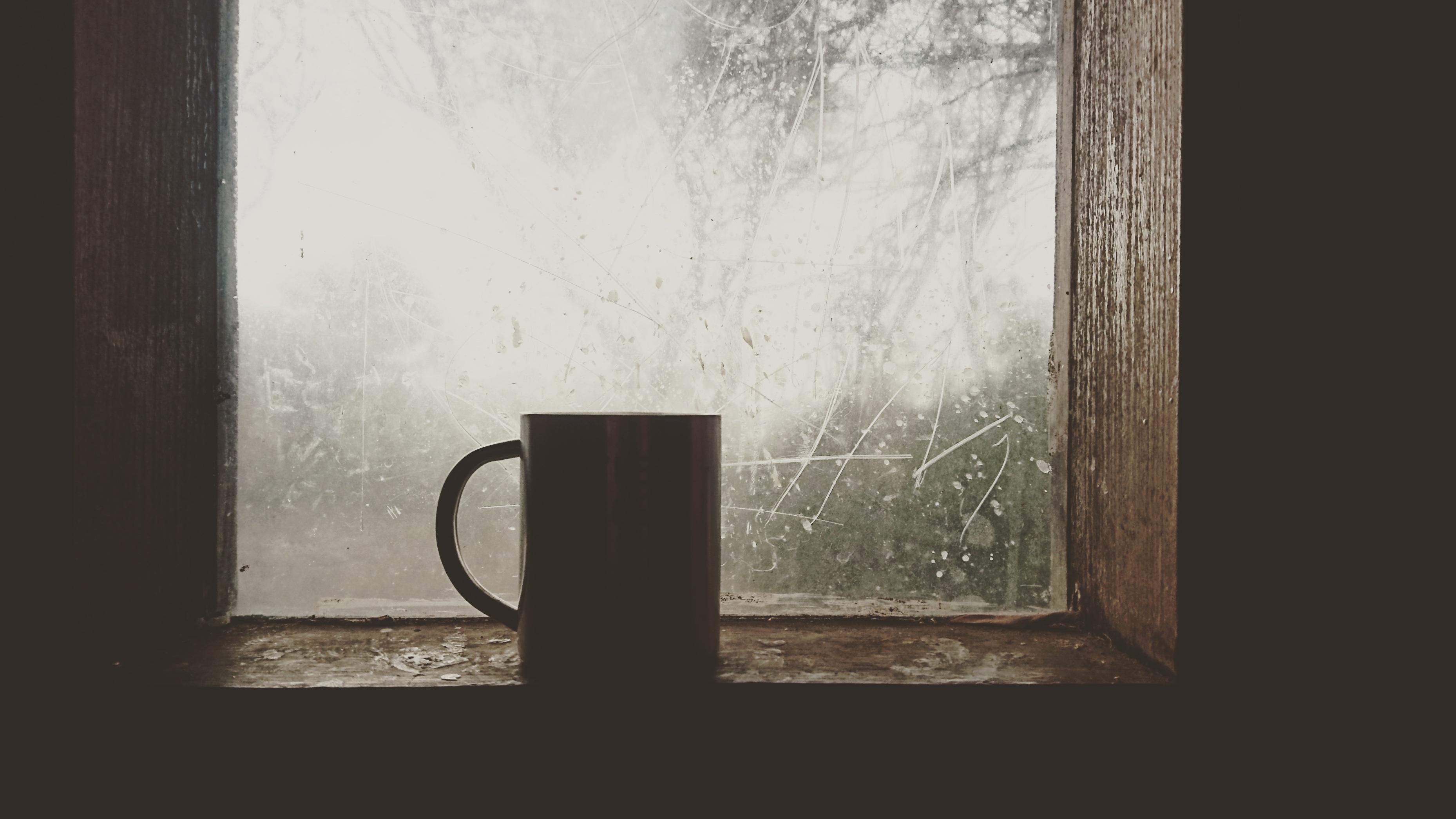 Window with ice and cup