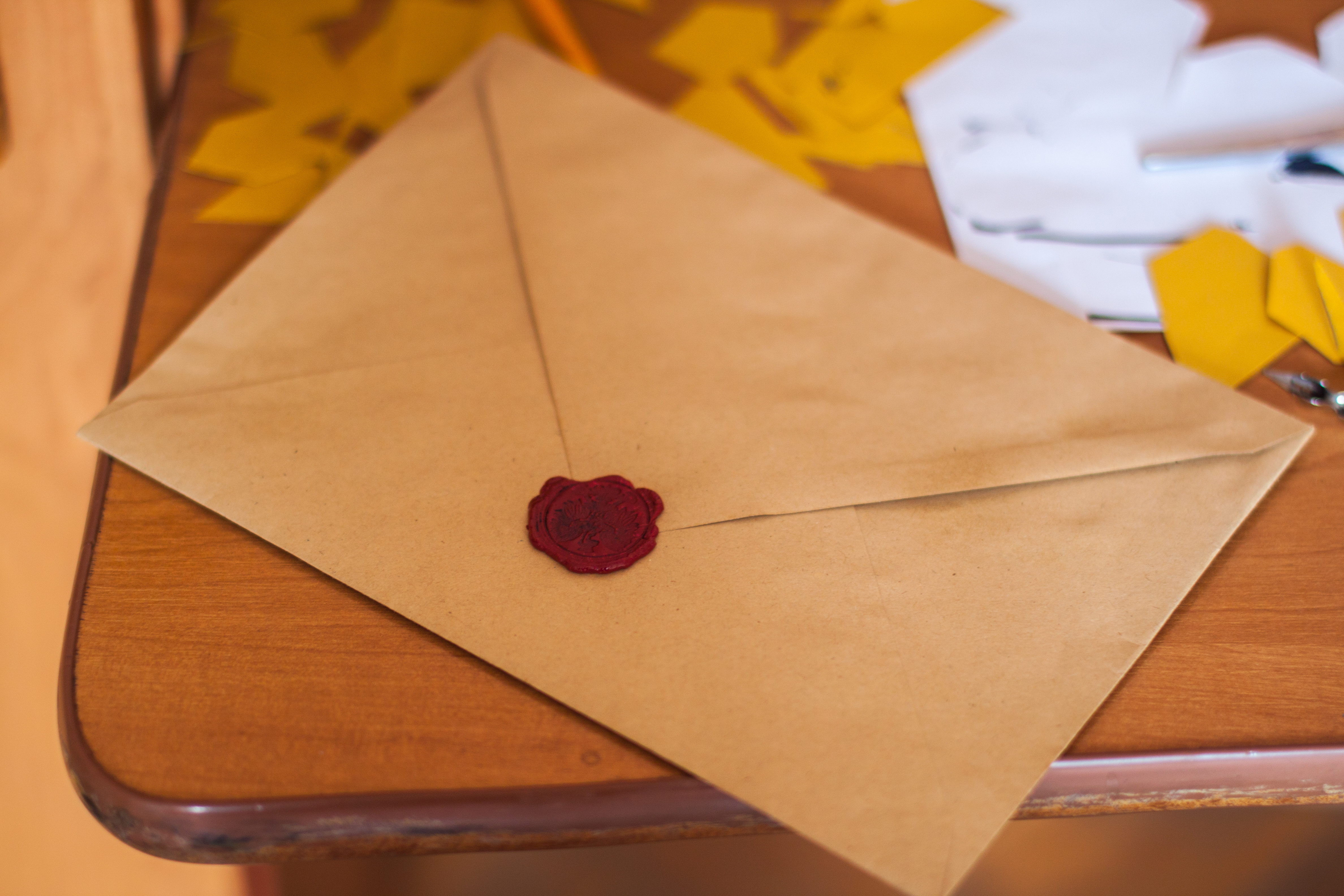 letter in an envelope on a table