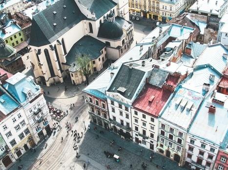 Free stock photo of city, bird's eye view, people, street