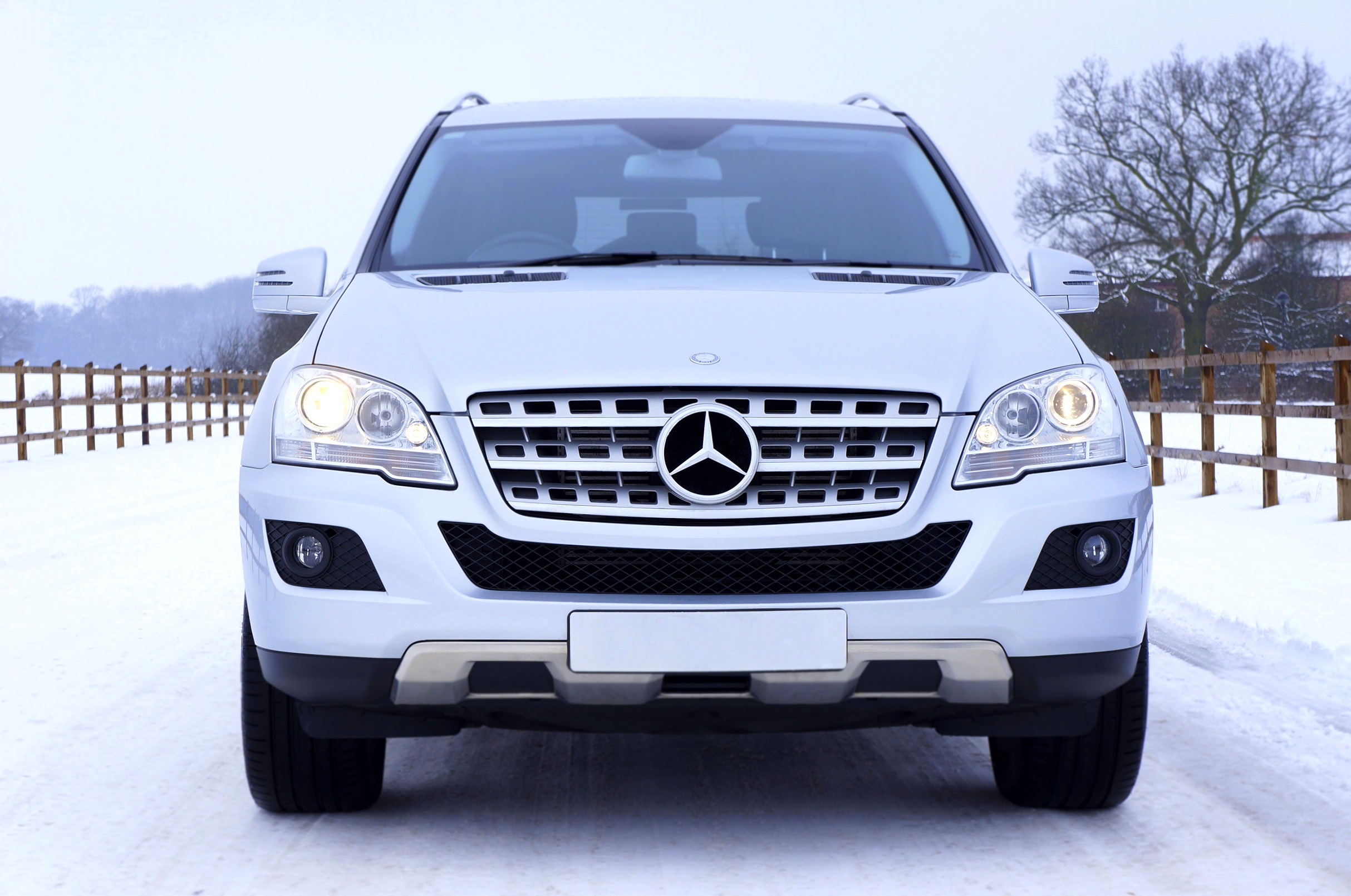 Best Tires For Snow >> White Mercedes Benz Car on White Snow Covered Ground at Daytime · Free Stock Photo