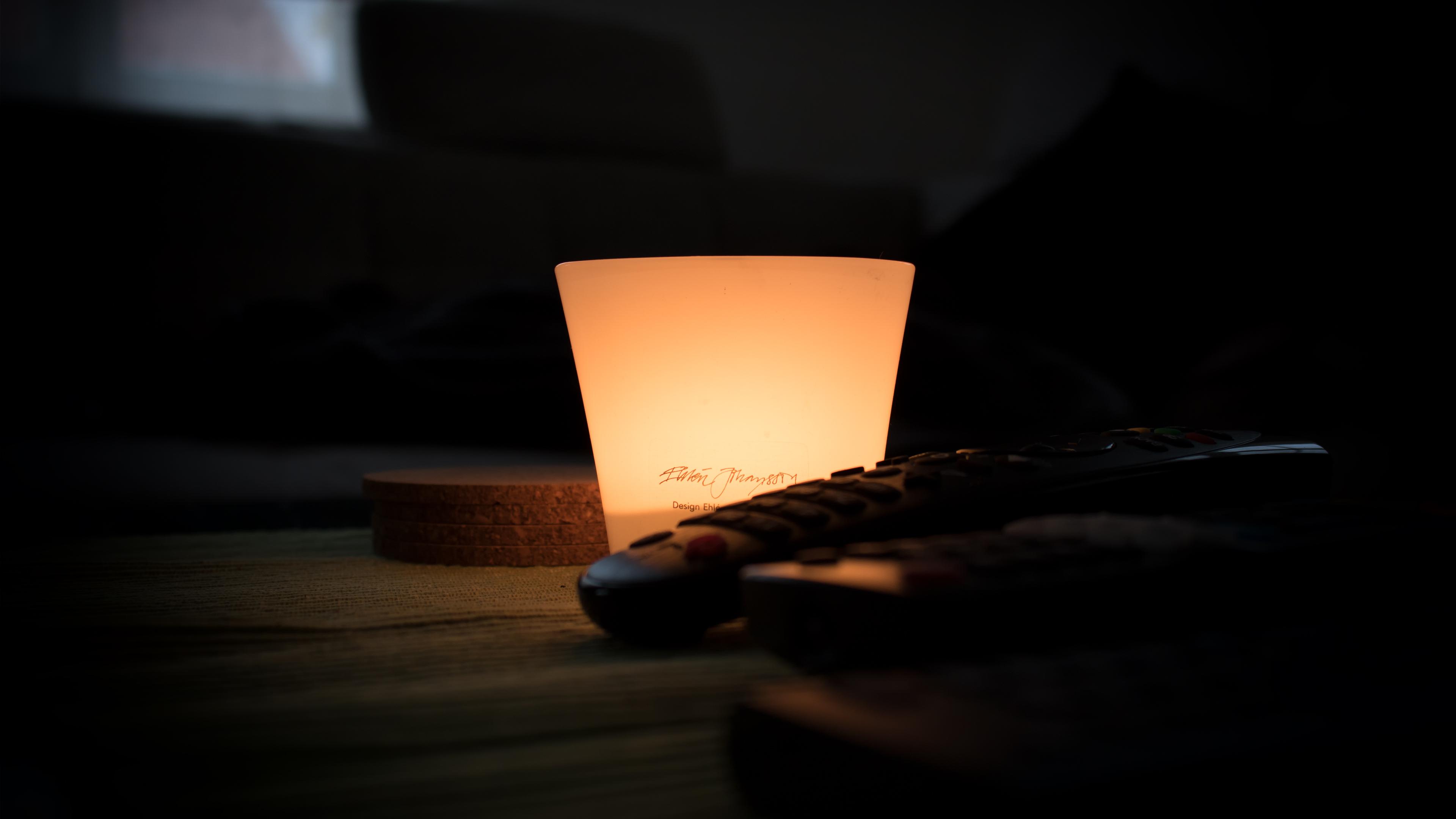 Black Remote Control Near Lamp Inside Dark Room 183 Free