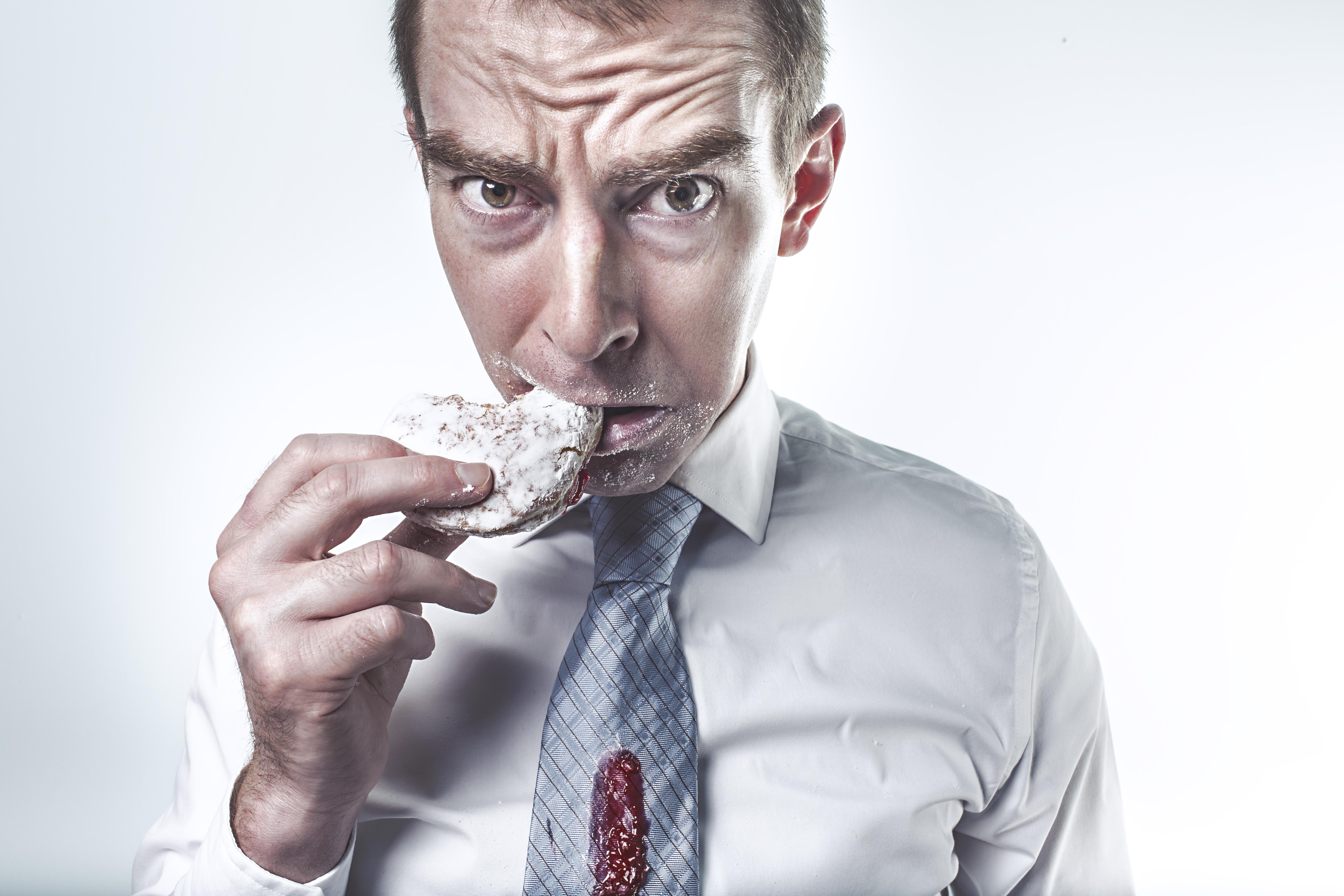 business man eating
