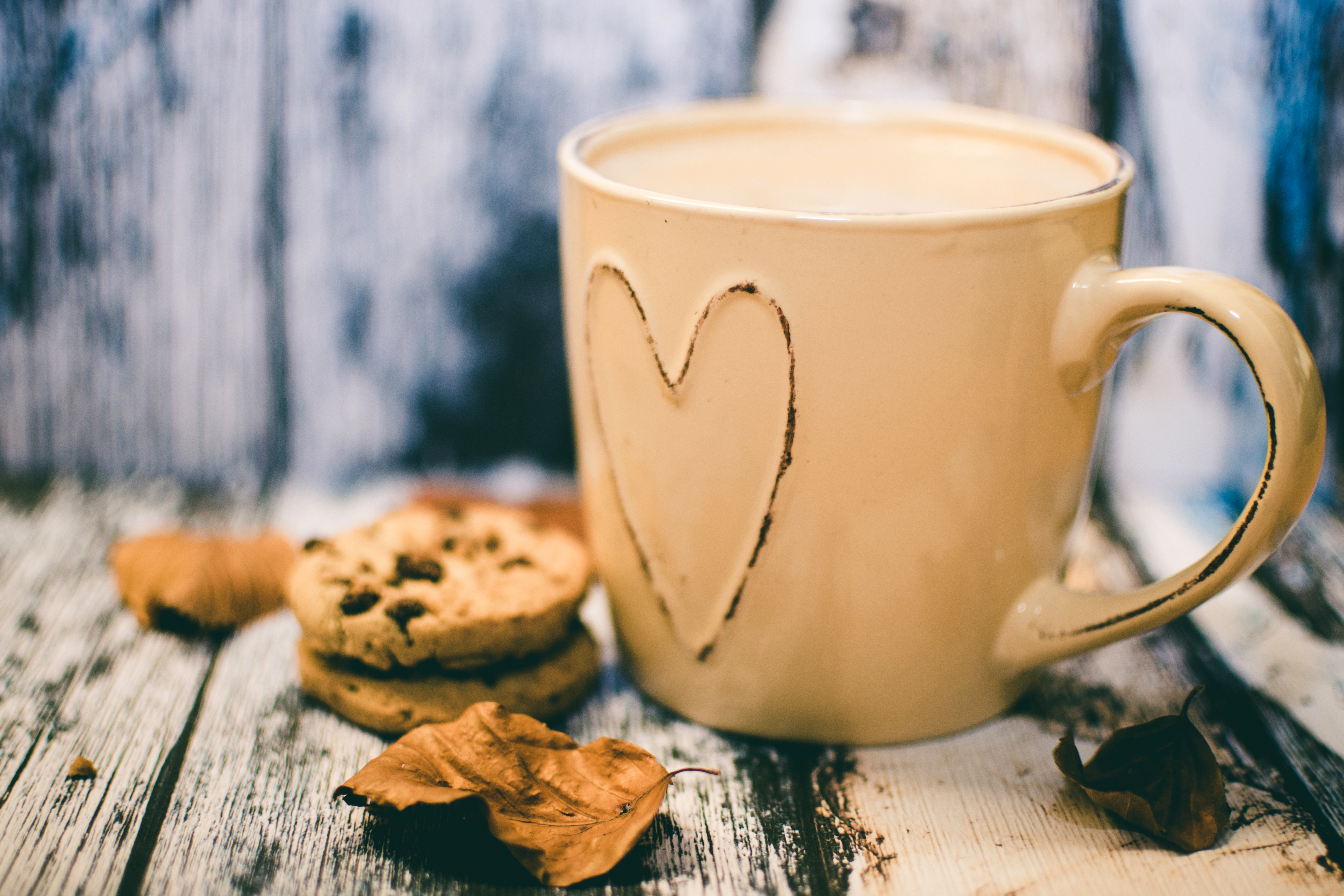 Cookie Coffee Cups Beige Ceramic Heart Mug With Coffee Beside Cookie Food A Free