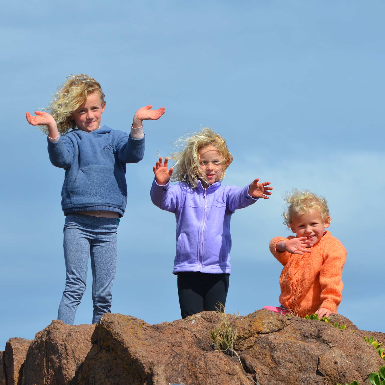 3 Kids Standing On Rock 183 Free Stock Photo