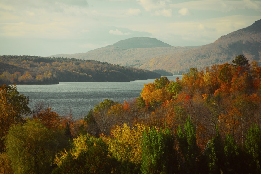 Fall landscape with a lake and trees