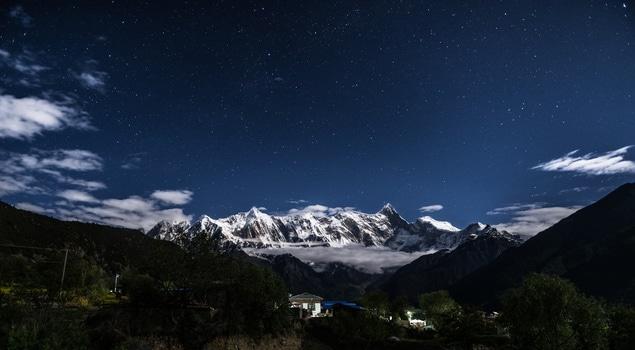 Free stock photo of snow, mountains, night, village