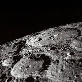 Black and White Photo of Moon Surface