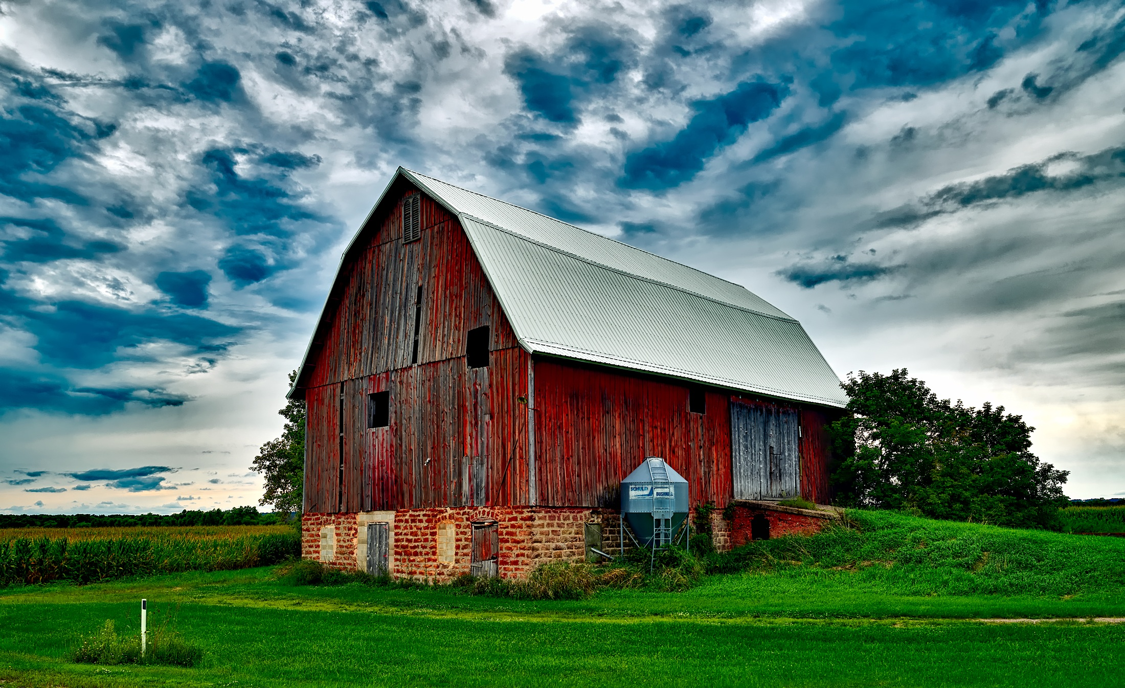 Barn On Field Against Sky 183 Free Stock Photo